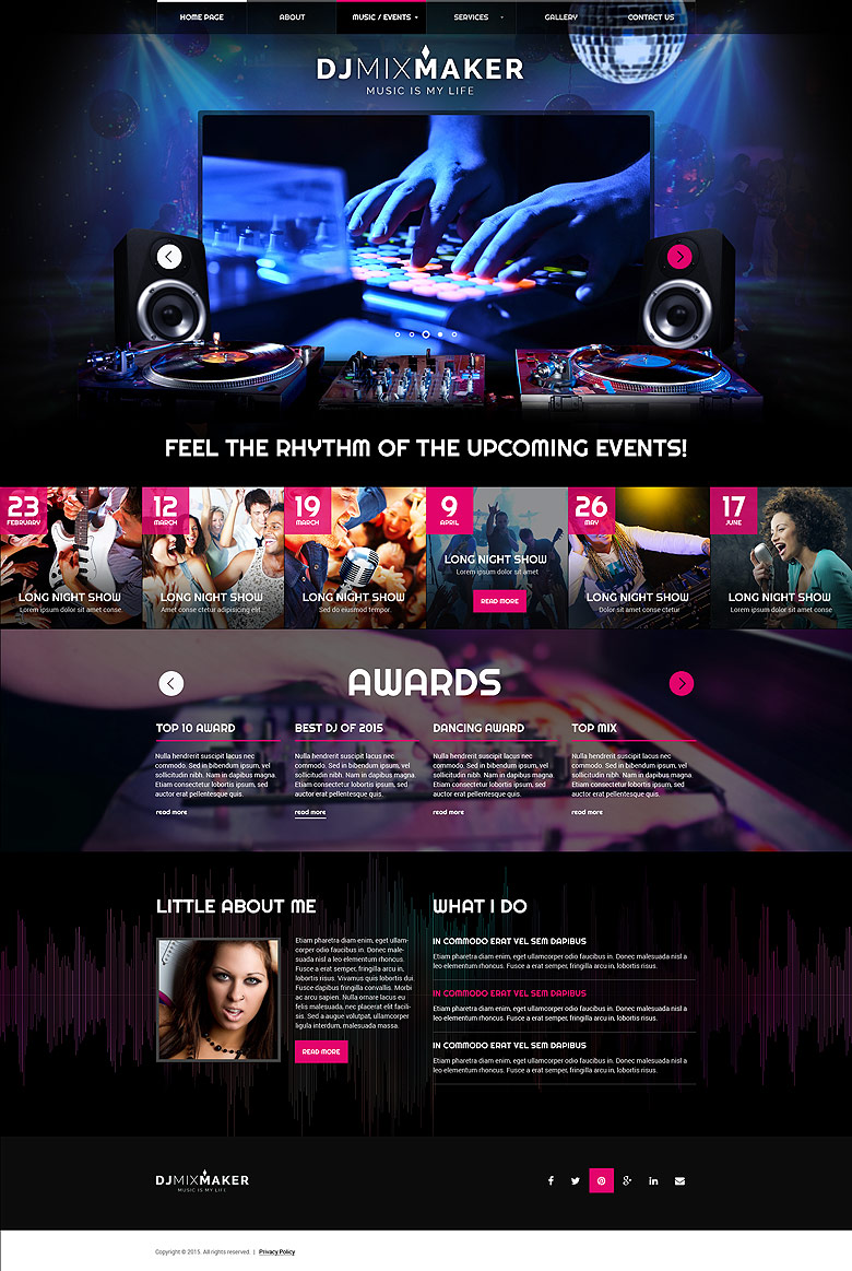 DJ Music - Bootstrap template ID: 300111860 from bootstrap-template.com