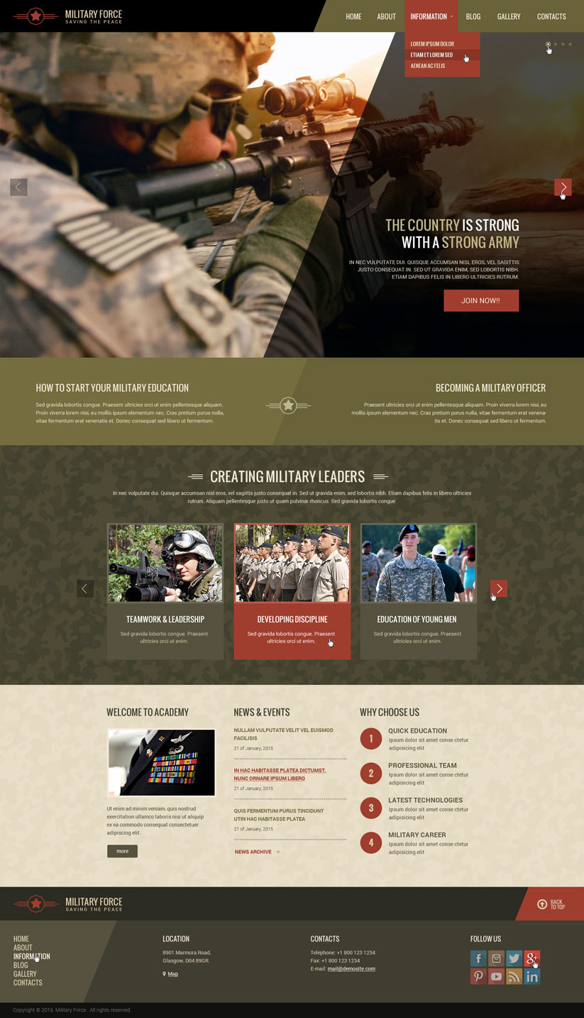 Military academy wordpress website template