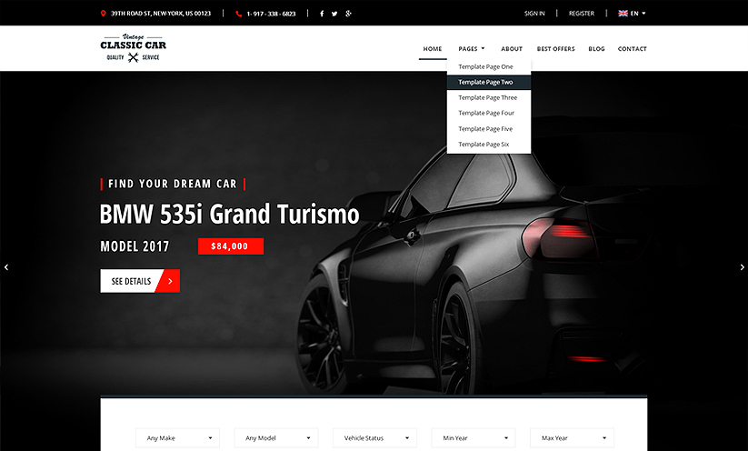 Car Marketplace Bootstrap template ID:300111928