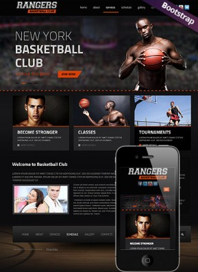 Basketball Bootstrap template ID: 300111680