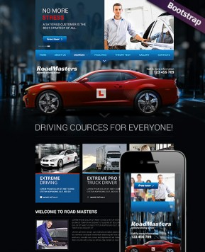 Driving School Bootstrap template ID: 300111697