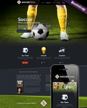 Soccer Club Bootstrap template ID: 300111703