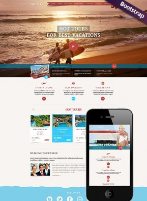 Travel Bootstrap template ID: 300111710