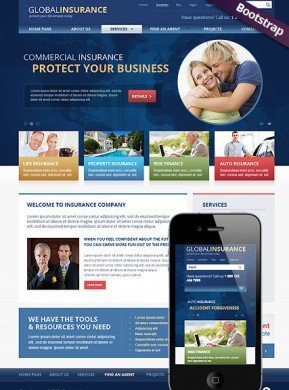Insurance Bootstrap template ID: 300111713