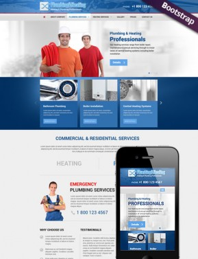 Plumbing & Heating Bootstrap template ID: 300111779