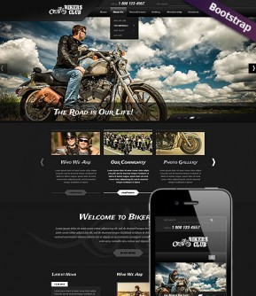 Bikers Club Bootstrap template ID: 300111783