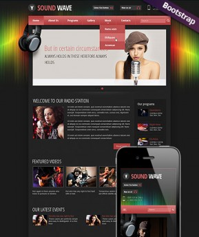 Sound wave radio Bootstrap template ID: 300111788