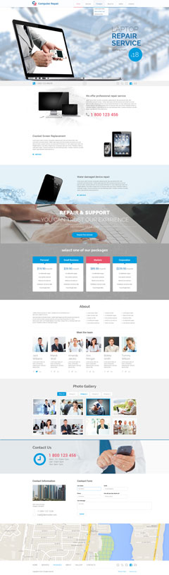 Computer repair Bootstrap template ID: 300111826