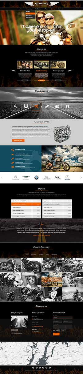 Bikers club Bootstrap template ID: 300111906
