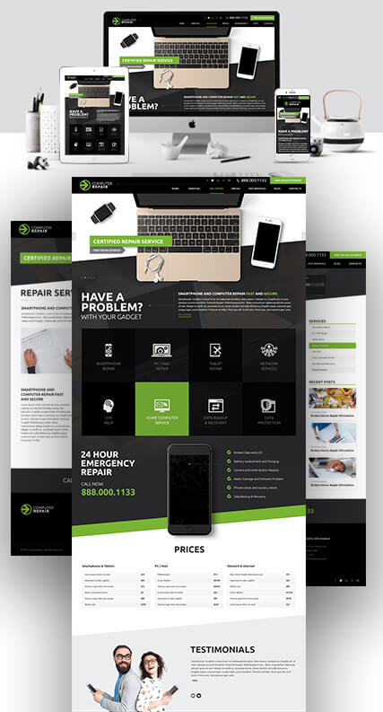Computer Repair Bootstrap template ID: 300111919